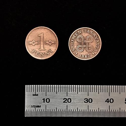 1 penni 15.5 mm copper color