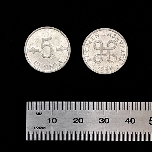 5 penni 18 mm silver color